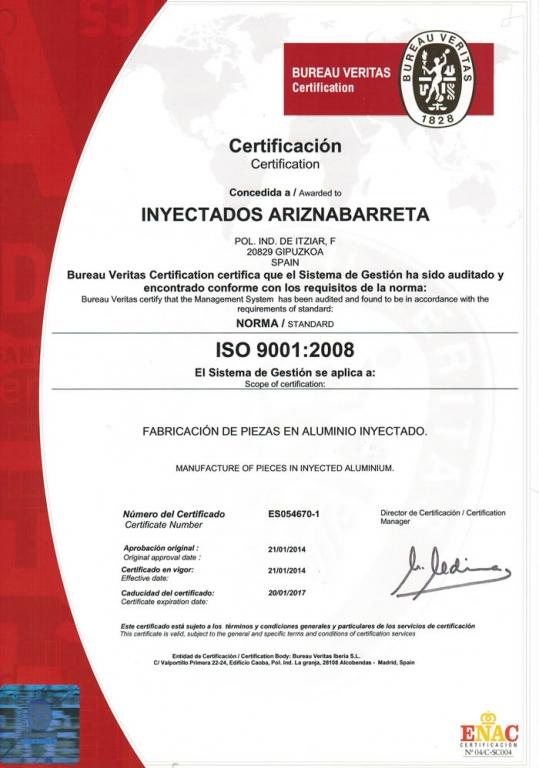 Inyectados Ariznabarreta - Certificado de calidad Iso 9001
